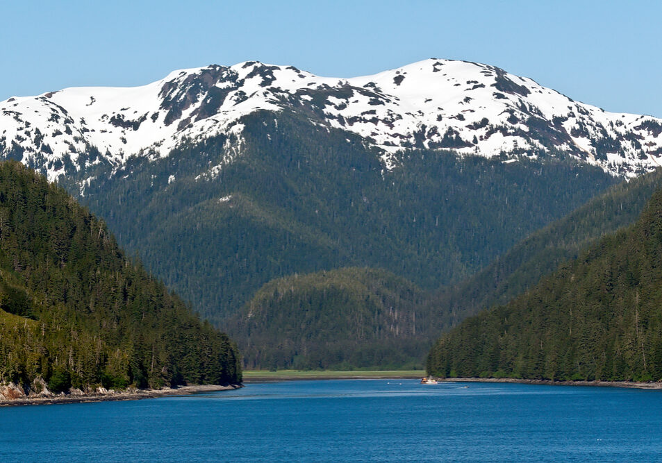 Snow capped mountains and thick forest line the inlet of the Inside Passage in Alaska